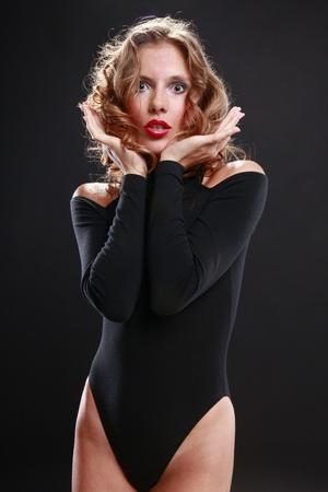 Seductive blond in black Stock Photo - 14025608