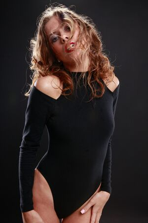 Seductive blond in black photo