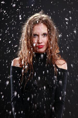 Rain drops on a gorgeous lady photo