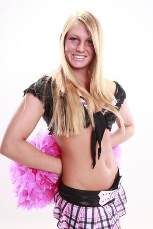 Young cheerleader and pink pom-pom Stock Photo - 14624184