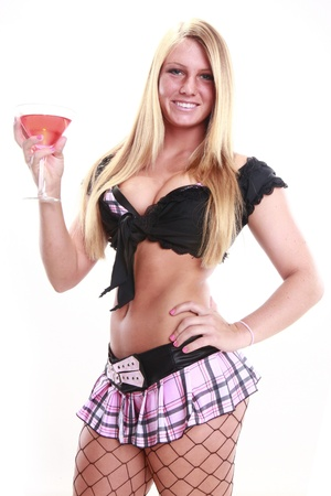 Attractive blond and martini style cocktail Stock Photo - 14624174