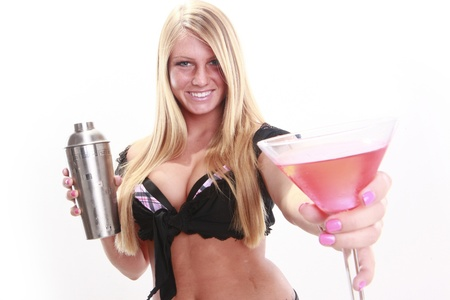 Attractive blond and martini style cocktail