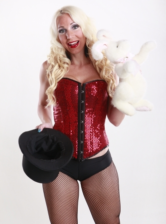sexy costume: Cute magician and her bunny act