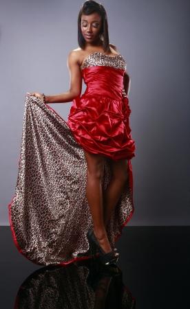 Cute brunette in red dress Stock Photo - 18122632