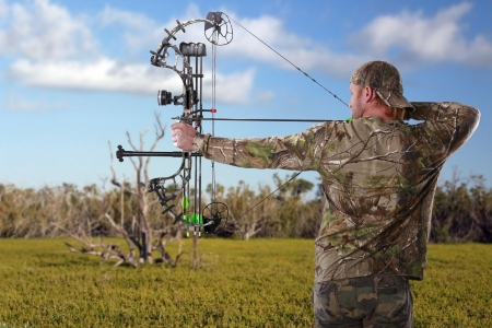 archer: Hunting with a compound bow Stock Photo