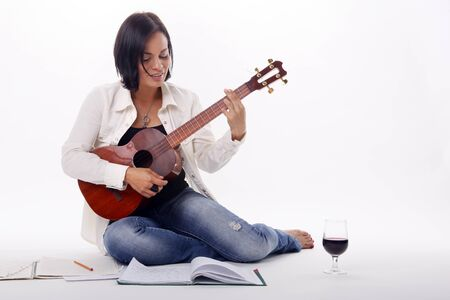 Composing while enjoying a glass of red wine Stock Photo - 18300120