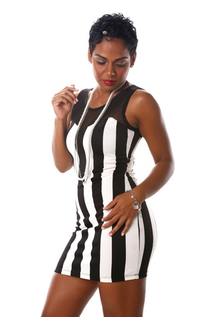 Cute Caribbean in long black and white stripes 스톡 콘텐츠