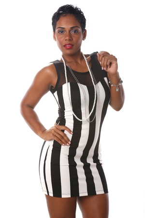 sexy black dress: Cute Caribbean in long black and white stripes Stock Photo
