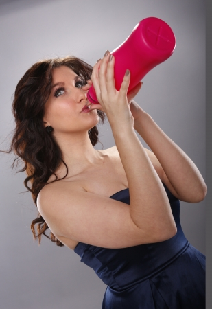 Young woman and large drink Stock Photo - 18970851