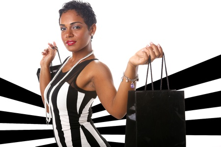 Caribbean gorl does her shopping Stock Photo - 19226508
