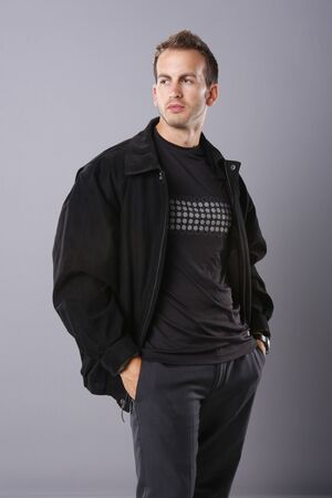 Young man in leather jacket photo