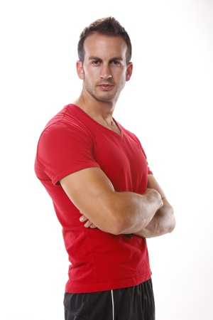 red tshirt: Young man in red T-shirt Stock Photo