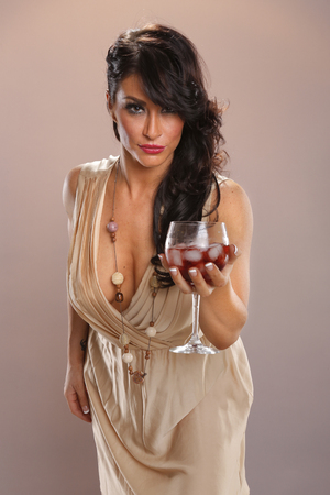 wet dress: Hot brunette and red wine punch