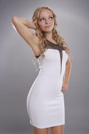 sexy mature women: Cute blond in white dress