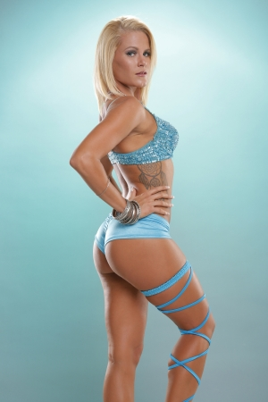 sexy mature women: hot blonde in blue outfit