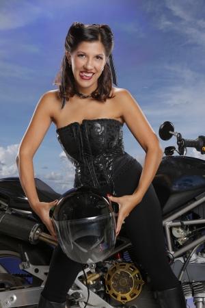 Girls enjoy bikes too Stock Photo