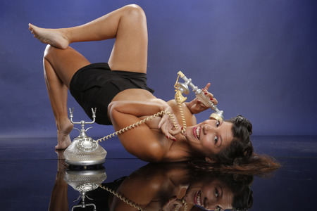 chitchat: Chit-chat on the floor pinup look Stock Photo