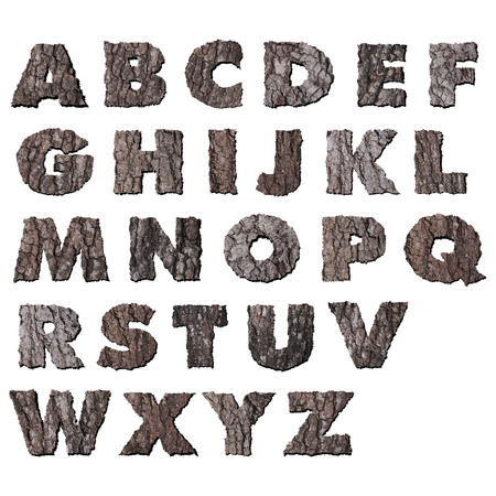 Oak wood bark alphabet photo
