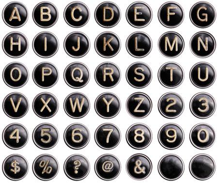 Vintage schrijfmachine toetsen met glans geïsoleerd
