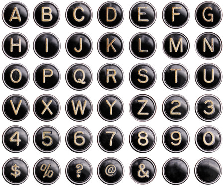 typewriting: Vintage typewriter keys with shine isolated