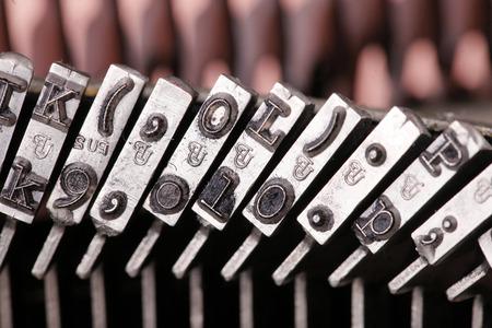 Rij van vintage schrijfmachine metalen behuizing