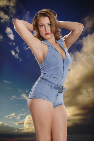 Blue pinup style photo