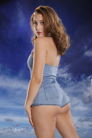 busty woman: Blue pinup style
