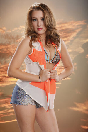 Orange sunset girl photo
