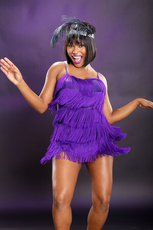 The roaring 20s African American in purple Stock fotó