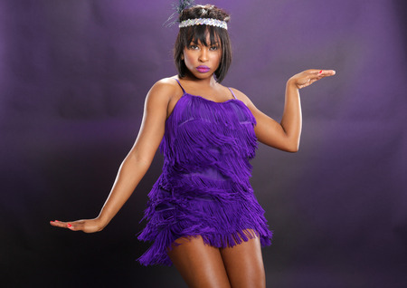 20s: The roaring 20s African American in purple Stock Photo