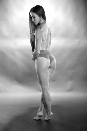 submissive: Fit girl in B&W