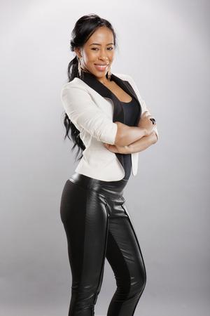 seductive women: Nice caribbean girl in fashionable attire Stock Photo