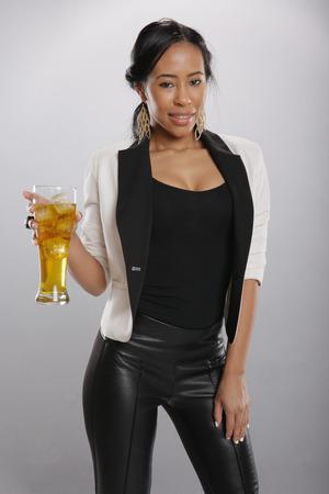 black pants: Nice cold drink in good hands
