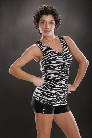 Mediterranean gal in zebra top Stock Photo