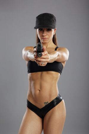 Fit model shooting at range