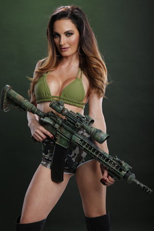 Woman and a semiautomatic rifle
