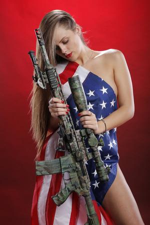 USA flag rifle girl