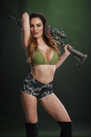 Woman and a semiautomatic rifle