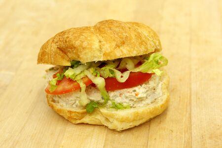 Tuna salad croissant on the baker's table