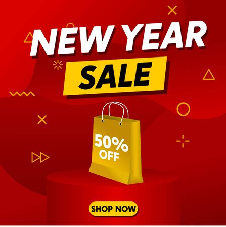 New Year Sale Banner, Chinese New Year Sale with Red Background and Gold Shop Bag, Product Display Banner, Discount 50% Off Vector Template for Poster, Brochure, Flyer, Card Illustration