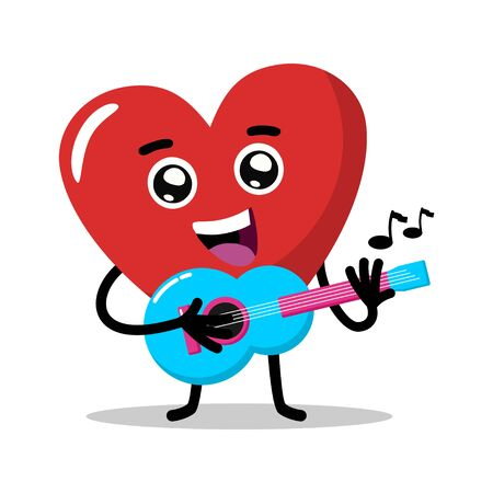 Cute character love heart singing and playing guitar vector. flat design