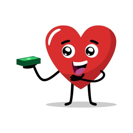 cute character of the love heart mascot carrying a stack of money, banking mascot vector illustration. flat design