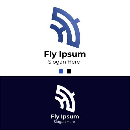 Travel, Airport, Airline, Technology, Application Logo Template with Flying Kite Shape. Flat Design Vector 일러스트