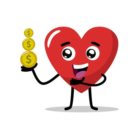 cute heart love characters bring gold coins, financial mascots, insurance, and management, love your money, lets save your money. flat design vector Ilustrace