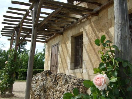 Marie Antoinette's Hameau: Pink rose in front of the Dovecote