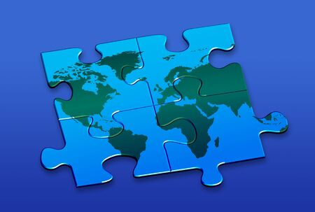World puzzle CLIPPING PATH! Stock Photo