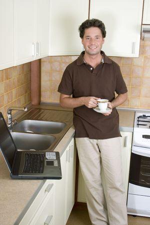 telework: Telework - Working home in the kitchen