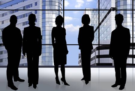 businesswear: Business people doing different things in front of an office window Stock Photo