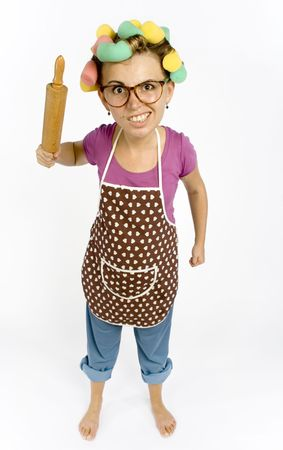 caricature of housewife - threaten by rolling-pin photo