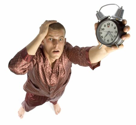 evoke: man who has overslept to work Stock Photo